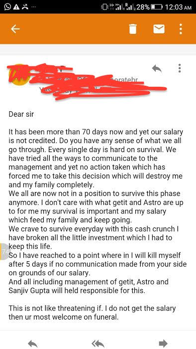 Askme Employee's Email To Senior Management